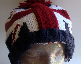 Union Jack Beanie Hat Hand Knitted