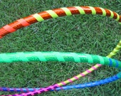 RaInBoW MiNi HuLa HoOps // set of two 2 poi twins minis // UV reactive Gaffer Sparkle Tape // Polypro HDPE or PE tubing // Rainbow Dazzle