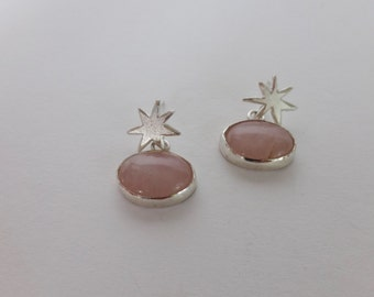 Silver and Pink Quartz Starburst Post Earrings