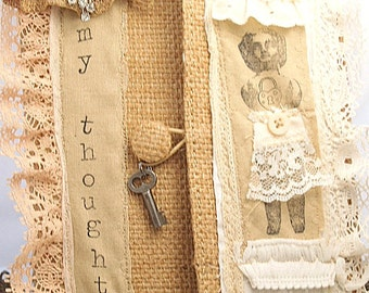 Shabby Burlap Journal Stitched Lace Mixed Media Journal with Frozen Charlotte Doll