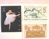 Unused Vintage Postage Stamps, Ballerina Postage, Cherry Blossoms Stamps, Pink Stamps, Mail 10 Letters or Cards 1 oz 49 cents postage