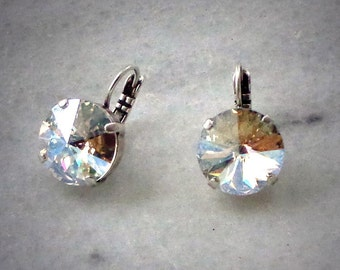 Austrian crystal 14mm moonlight large rivoli drop leverback earrings,antique silver setting,spectacular gleaming clear crystal stones