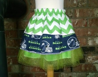 Beautiful Seahawks skirt for your little cheerleader, size3 mo, 12mo, 2T