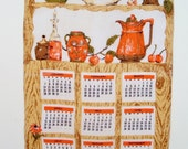 Vintage 1962 Linen Calendar Towel - Luther Travis - Kitchen Objects in Hutch