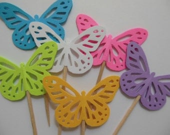 Butterfly Cupcake Toppers - Turquoise, Neon Pink, Neon Green, Lavender, Gold and White - Birthday Party Decorations - Set of 12