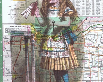Alice in Wonderland.Colourful.Collage.Map Page Print,home/deco.affordable,art,freebie/traveller.mom.children,bedroom.den.fantasy.drink me