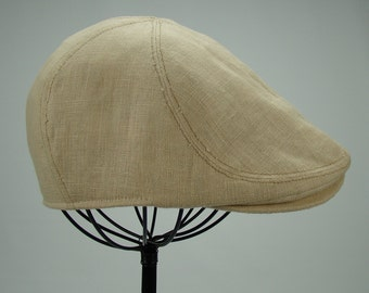 6-Panel Handmade Linen Flat Cap Driving Cap for Men in Wheat - Custom Hats