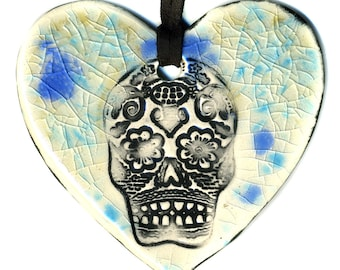 Day of the Dead Heart Necklace in Spotted Blue Crackle