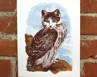 Meowl- Hand-Printed Art print 8x10