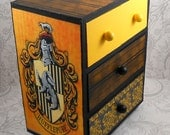 Custom Hufflepuff Black and Yellow Hogwart's House  Harry Potter Stash Jewelry Box