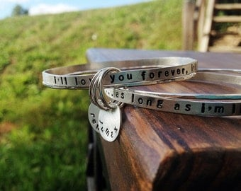 Mom Jewelry - Mom Bracelet - Stacking Bangles - Custom Personalized Jewelry - EcoFriendly Sterling Silver - love you forever quote