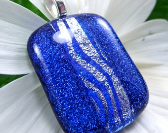 Dichroic glass pendant, fused glass, Hana Sakura, dichroic jewelry, glass fusion necklace,handmade,artisan jewelry, blue necklace,statement