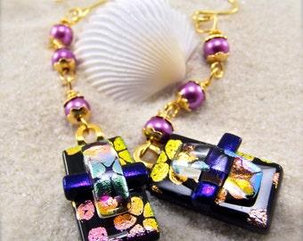 Artistic dichroic fused glass earrings, Women's handmade, dichroic earrings, Fused dichroic, Glass fusion, Hana Sakura, Dichroic glass beads