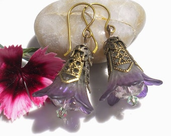 Purple Lily Flower Earrings Swarovski Crystals Antique Brass Beadcaps