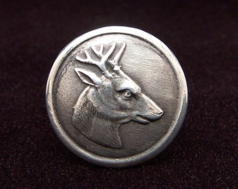 Sterling Silver Deer ring made from antique vintage button