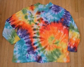 Upcycled Tie Dye Ladies Long Sleeve Shirt - Size 18 - 20