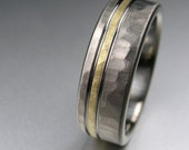 Men's Wedding Band Titanium & Yellow Gold Hammered Comfort Fit