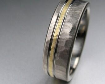 Men's Wedding Band Titanium & Yellow Gold Hammered Comfort Fit