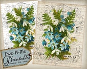 INSTANT DOWNLOAD - Printable French Country Blue Flowers - Iron On Transfer or Print on Fabric or Paper  - JPG File