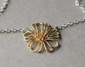 Brass Flower Necklace, Floral Necklace, Minimal Jewelry, Mixed Metal Jewelry, Floral Jewelry