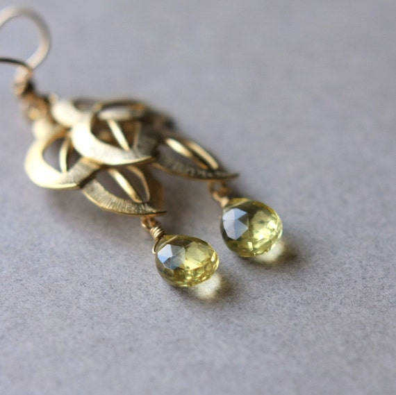 Lemon Quartz Earrings, Faceted Gemstone Briolette Earrings, Yellow Quartz Earrings, Gold Leaf Earrings, Under 50,