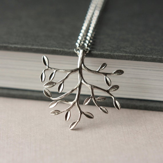 Last One - Silver Tree Necklace, SIlver-Plated Brass Branch Necklace, Nature Woodland Leaves, Woodland Jewelry, Sterling Silver Necklace