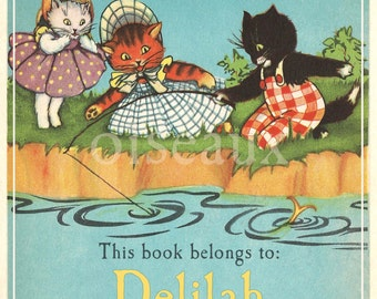 Personalized Bookplates - Kittens - Vintage Labels, Girl's Library, Cat Lover Book Plates