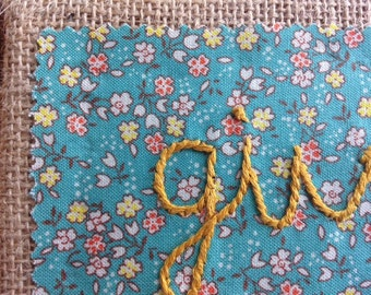 Give Thanks Embroidered Burlap Wall hanging Turquoise