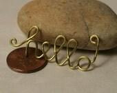 Handmade gold tone HELLO pendant drop connector charm, one piece (Item ID GThello93)