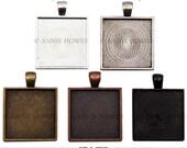 "Square Bezel Pendant Tray for Glass. 25mm or 1"". Silver, Vintage Silver, Vintage Copper, Bronze, Black. 5 Pack."