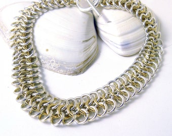 Sterling Silver and 14k Gold Euro 4in1 Chainmaille Bracelet