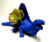 Blue dinosaur planter Ready to Plant and Display at Work or Home Great