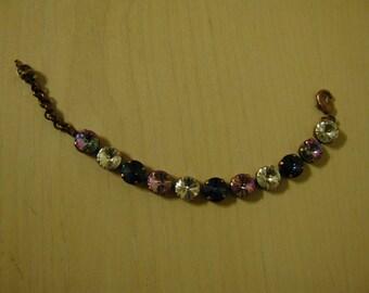 Antique Copper Swarovski Crystal Tennis Bracelet