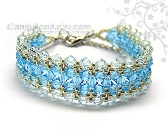 Swarovski bracelet, Bright and Light Blue crystal bracelet by CandyBead