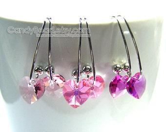 Swarovski earrings;crystal earrings;Swarovski Crystal Earrings, Genuine Swarovski Sweet Pink Series on Long Ear Hooks - You Choose Color