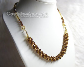 Swarovski Crystal Necklace, Sweet Brown and Gold Twisty Swarovski Crystals Necklace by CandyBead