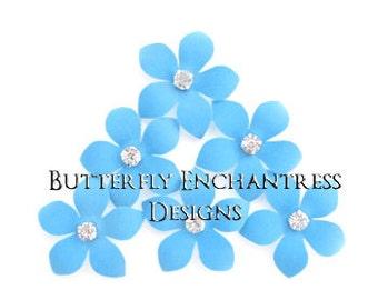 Something Blue, Rustic Nautical Beach Wedding Hair Accessories, Bridal Hair Flower - 6 Sky Blue Harper Jasmine Flower Hair Pins - Rhinestone
