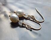 Pearl Drop Earrings, Pearl and Moonstone Earrings, Charlotte Seed Beads, Gold Earwires, Tiny Earrings, Petite Earrings,Creamy White Pearls