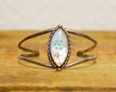 Vintage hippie cuff bracelet Mother of pearl inlaid front