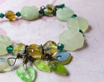 Pale green new jade flowers bracelet with glass leaf dangles