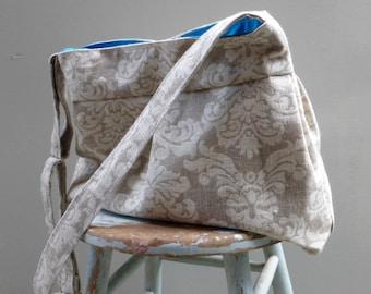 Knitting Bag Grey Damask - 6 pockets - Key Fob - Adjustable Strap