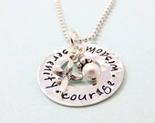 Serenity Prayer Necklace - Faith Necklace - Hand Stamped Jewelry - Serenity Courage Wisdom - AA Sobriety - Sterling Silver Serenity Necklace