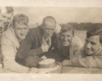 vintage photo 5 Men Lying on Beach ALl in Frame Hat in Front 1910 College guys