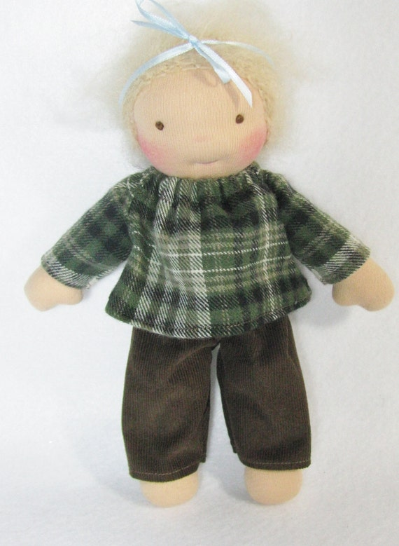 waldorf doll clothes, brown cords and plaid flannel top for thinner 8 inch waldorf doll