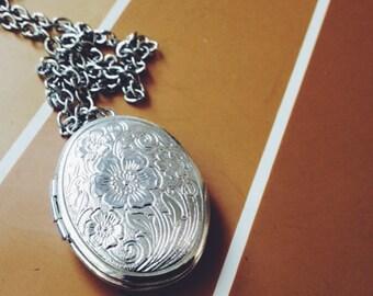 long locket necklace - silver oval decorative