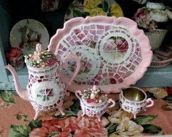 Pretty Pink China Mosaic Tea Set with Tray Shabby Cottage Home Decor Tea Party Cottage Display