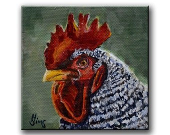 Rooster painting wall art prints chicken decor, rooster art print, giclee print, kitchen wall art, farmhouse decor , Mat OPTION