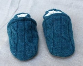 Blue Cable Knit Wool Slippers Leather Bottom Baby Slippers fits 0-6 months old  made from recycled materials