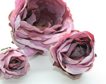 3 Vintage Inspired Shabby Chic Roses in Lavender  - Dry Look Leathery Feel - ITEM 0573