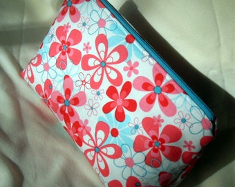 Pink & Aqua Medium Size Zippered Pouch, Floral Cosmetic Zippered Pouch, Make up Bag, Floral Purse Organizer